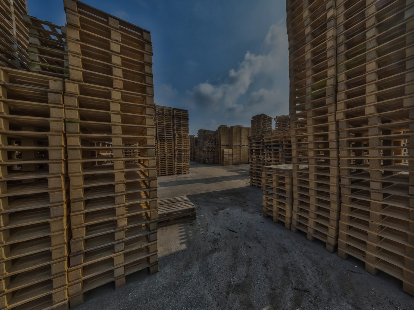 Stacks of New and Used Pallets for Sale