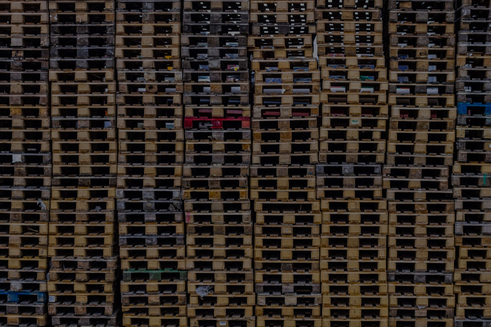 Stacks of used pallets